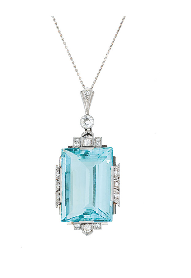An Art-Déco aquamarine pendant with diamonds