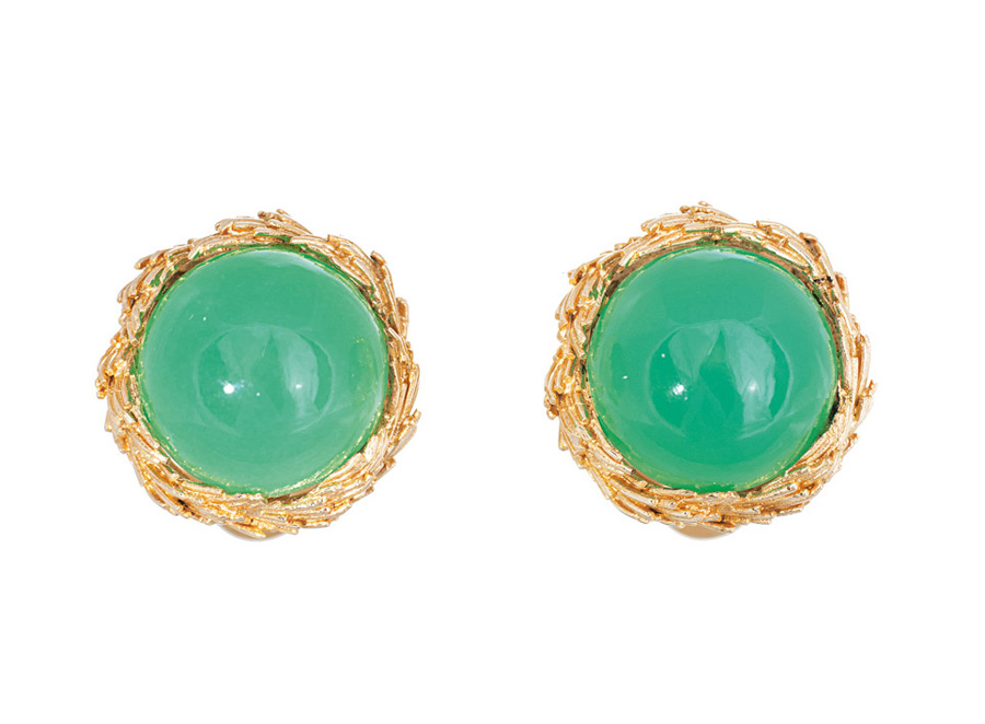 A pair of chrysopras earrings