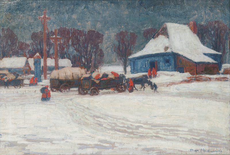 Horse Carts in a Winterly Polish Village