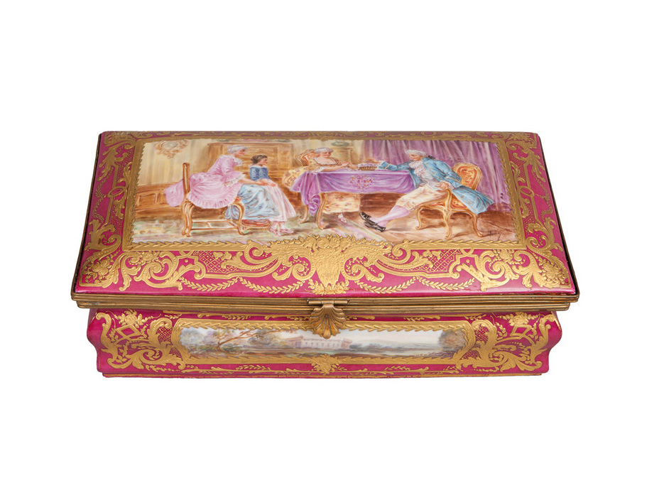 A Sèvres-style box with cover and Rococo genre scene