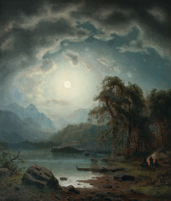 Night Landscape with Hunters by a Fire