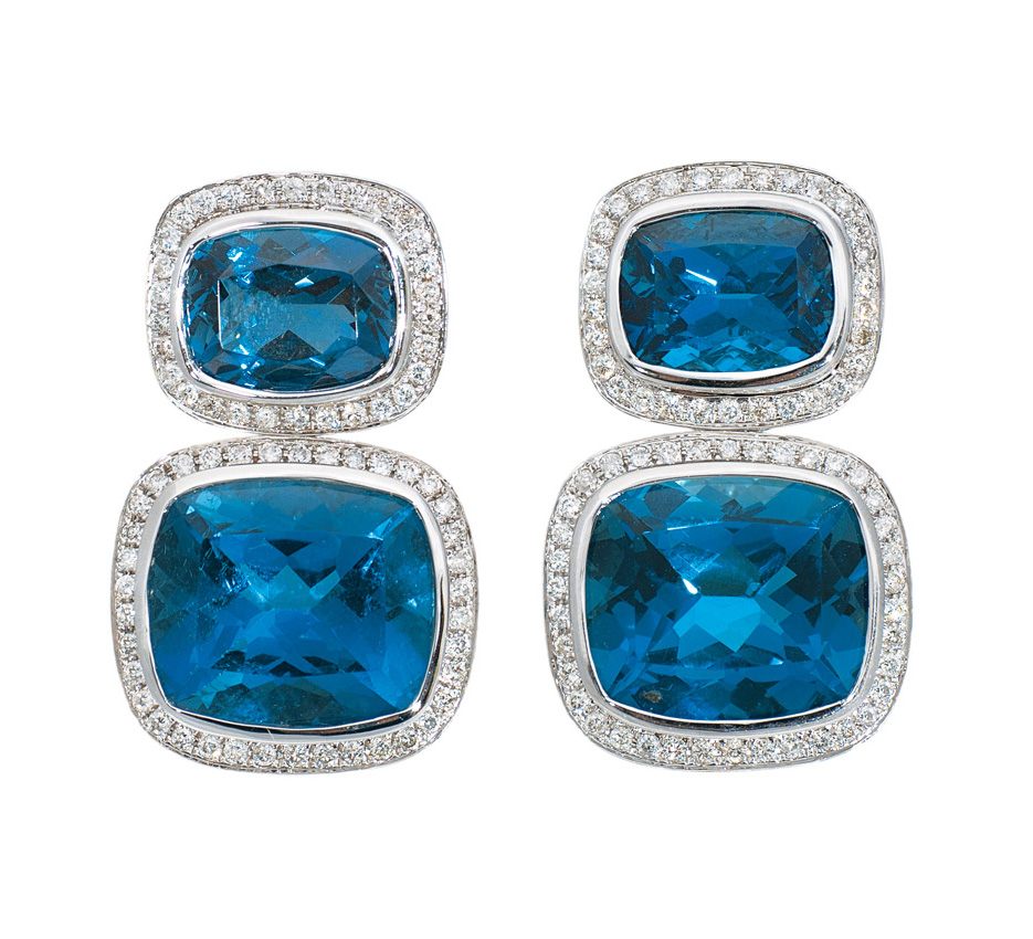 A blue topaz diamond earrings
