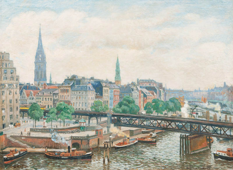 Hamburg, View on the Metro with the Churches St. Nicolai and St. Katharinen