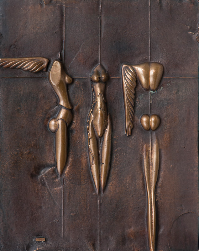 A bronze relief 'Nike'