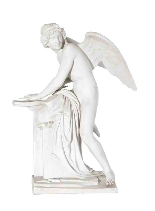 An exceptional biscuit porcelain figure 'Cupid grinding his arrow'