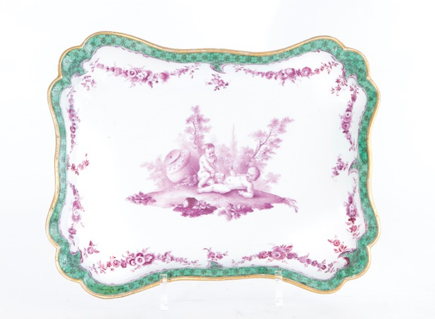 A quatrefoil bowl with 'purple camaieu' putti