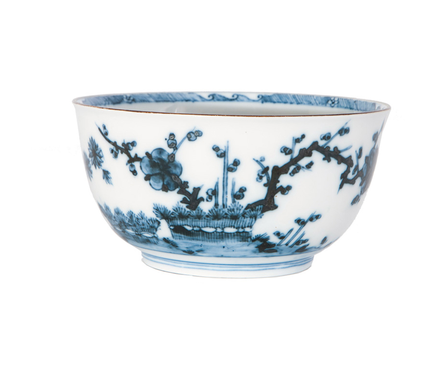 A rare bowl with 'Arita style' blue painting