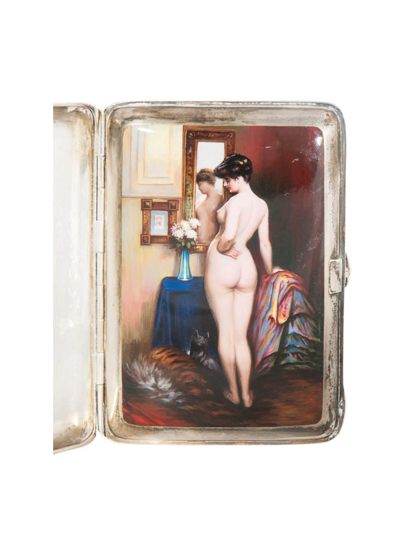 A rare cigarette case with erotic enamel painting