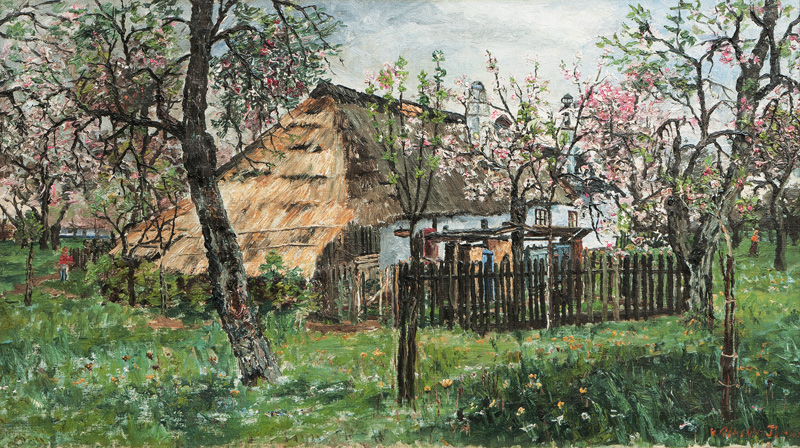 Blossoming Trees in a Garden