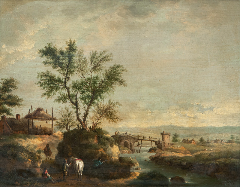 River Landscape with Hunters