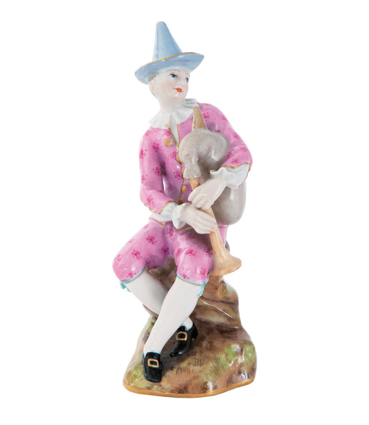 A figure 'Harlequin with bagpipe'