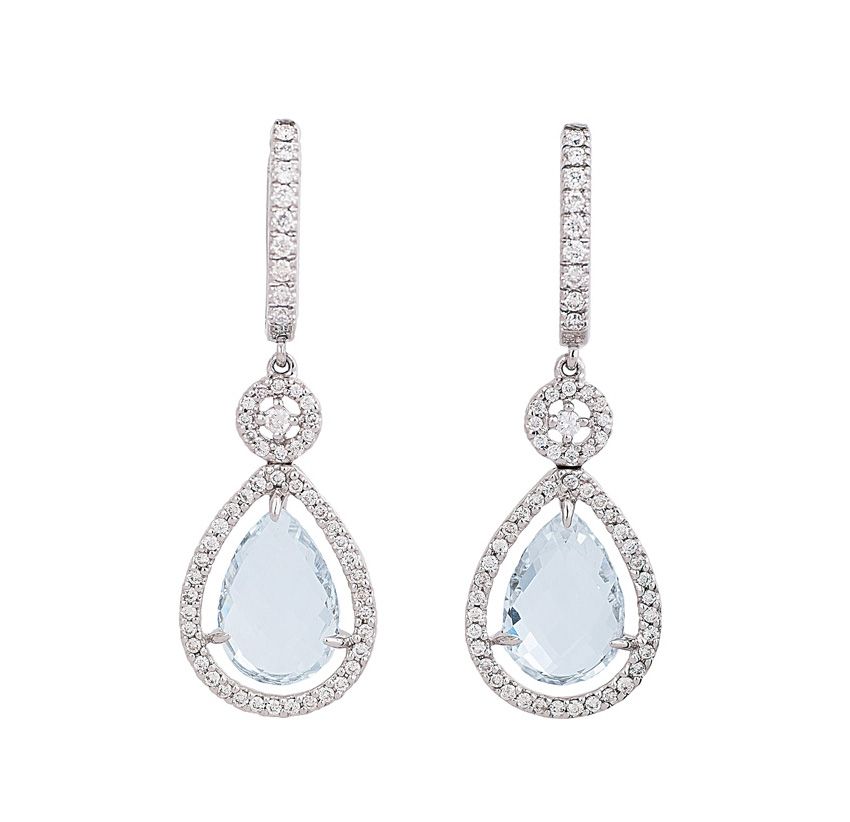 A pair of topaz diamond earpendants by Wempe