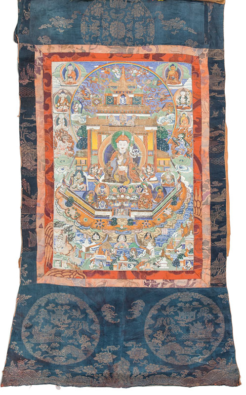 A thangka 'Padmasambhava in the glorious copper-mountain paradise'