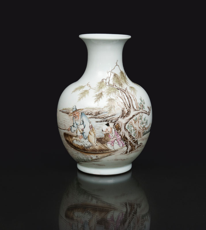 A bellied vase with fisherman