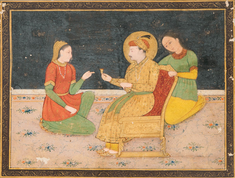 A miniature painting 'Jahangir and his wife'