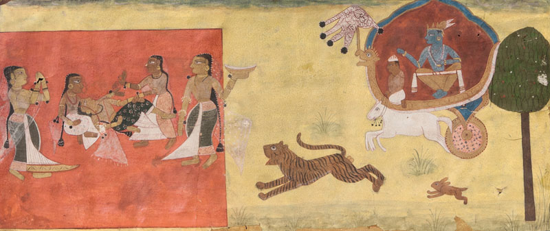 A miniature painting 'Krishna watching the Gopis'