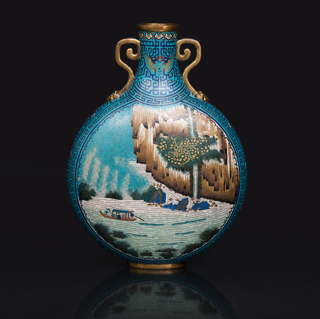 A large cloisonné moon flask with landscapes after the famous 'Ode to the Red Cliff'