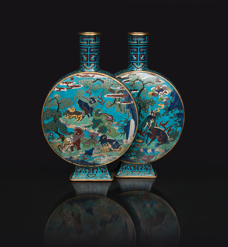 An exceptional cloisonné conjoined double vase with mythical beasts and dragons