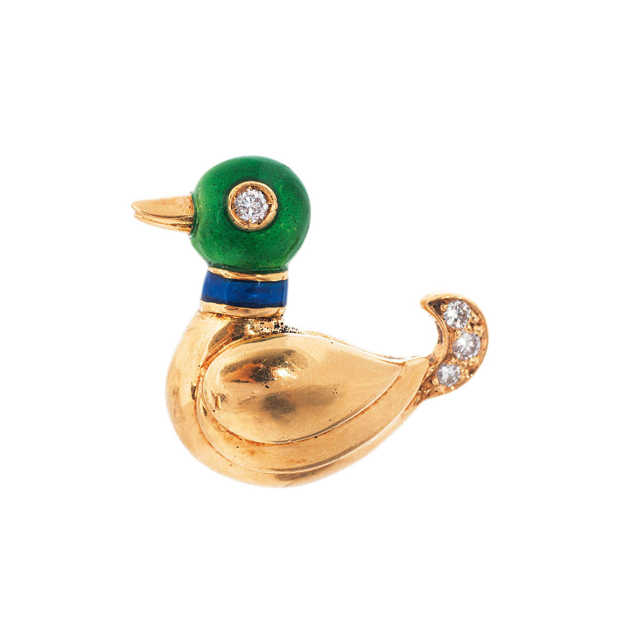 A small enamel diamond pin 'Duck' by Cartier