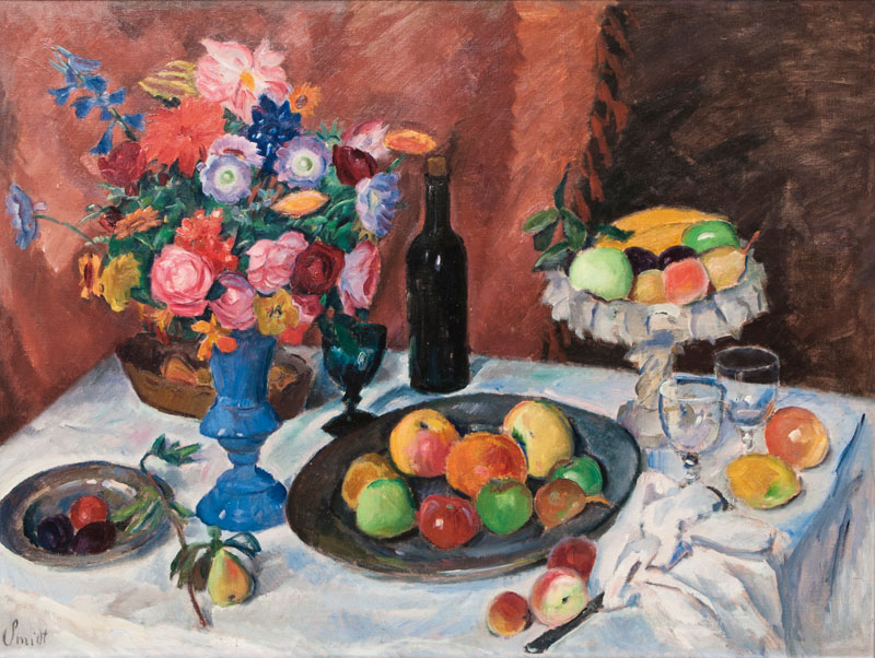 Table Still Life with Fruits and Flowers