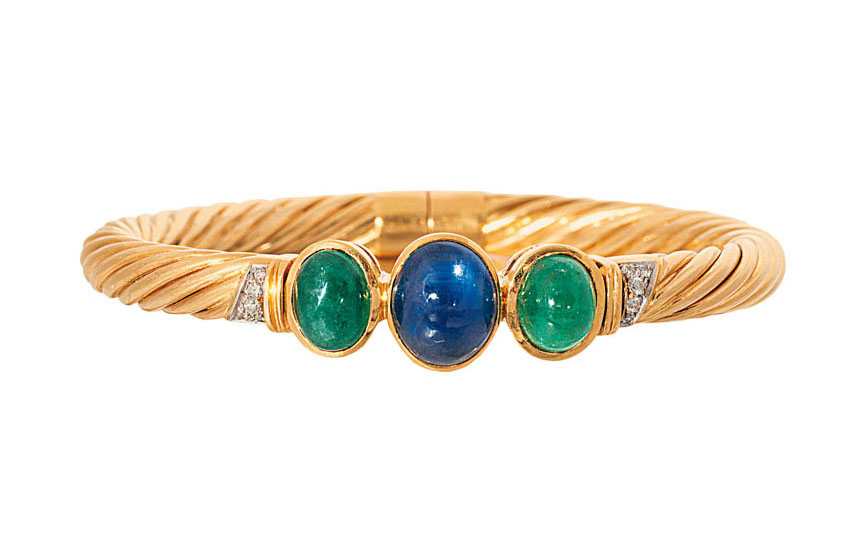 A sapphire emerald bangle bracelet with matching ring