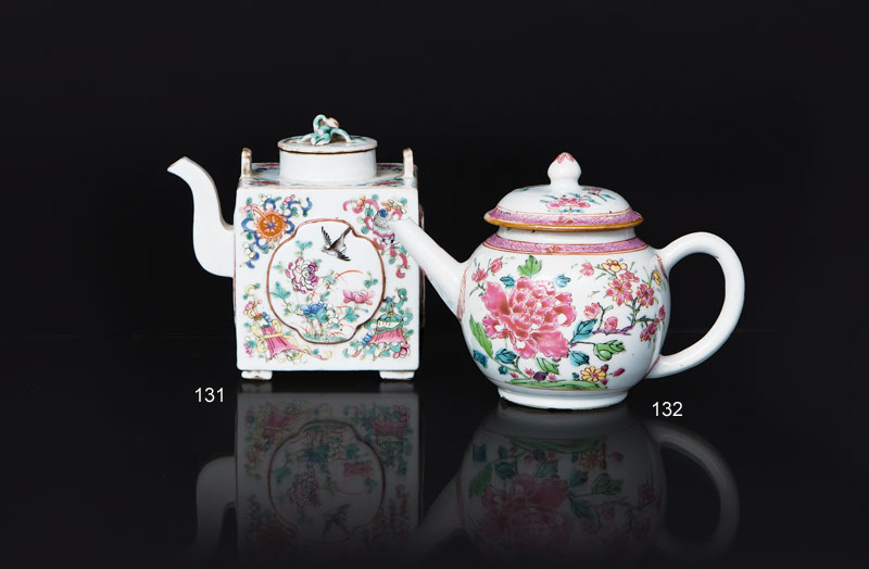 A 'Famille Rose' teapot with peonies