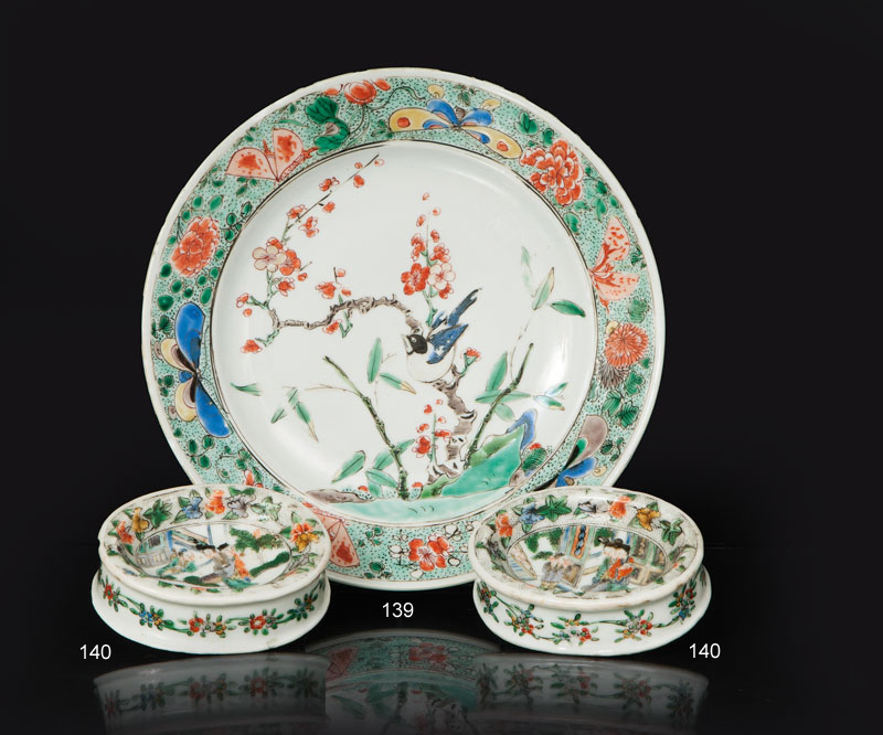A 'Famille Verte' plate with bird