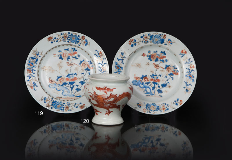 A pair of 'Imari' plates with 'Rock and Bird'