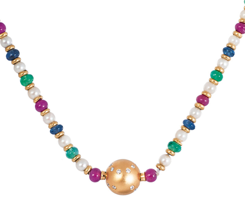 A petite ruby emerald saphhire pearl necklace