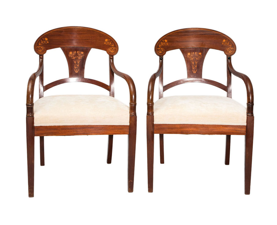 A pair of Art Nouveau armchairs