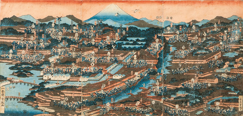 A large triptych 'Bird's-eye view on Edo with fire brigades'