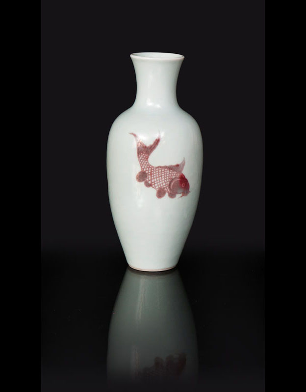 A fine baluster vase with fish decoration