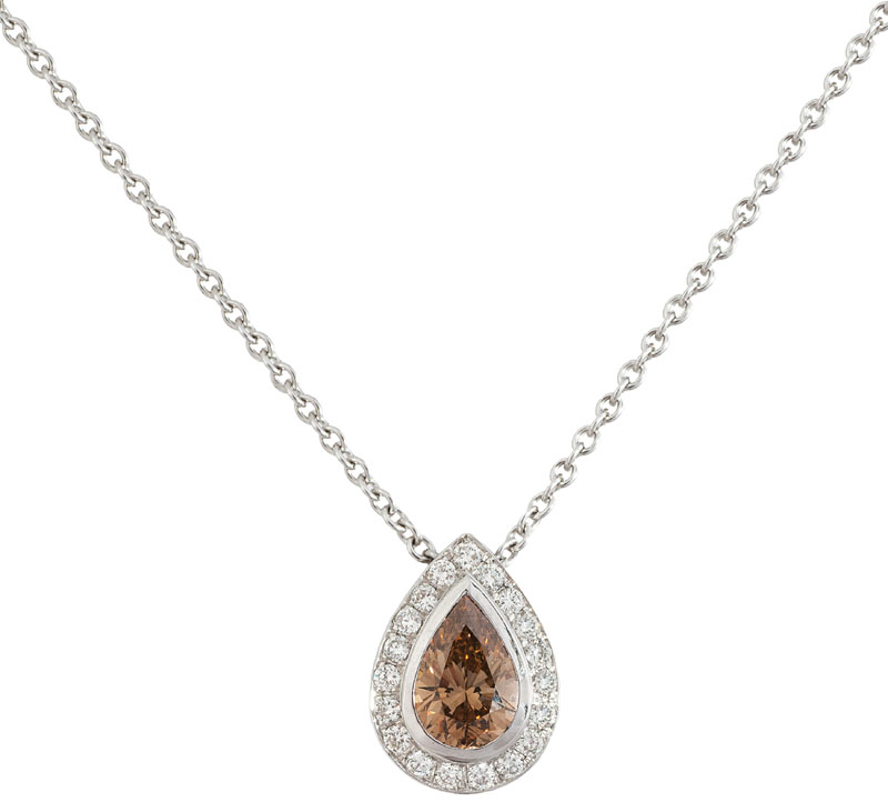 A fancy diamond pendant with necklace