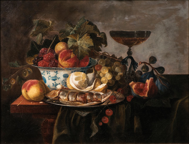 Table Still Life with Fruits and Herring