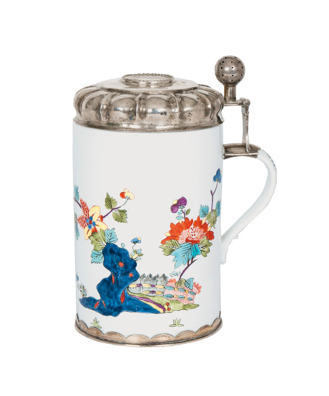 An early and rare silver-mounted Kakiemon tankard