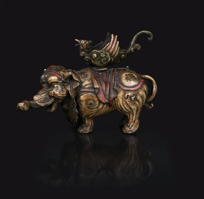 An unusual cold-painted bronze elephant-censer