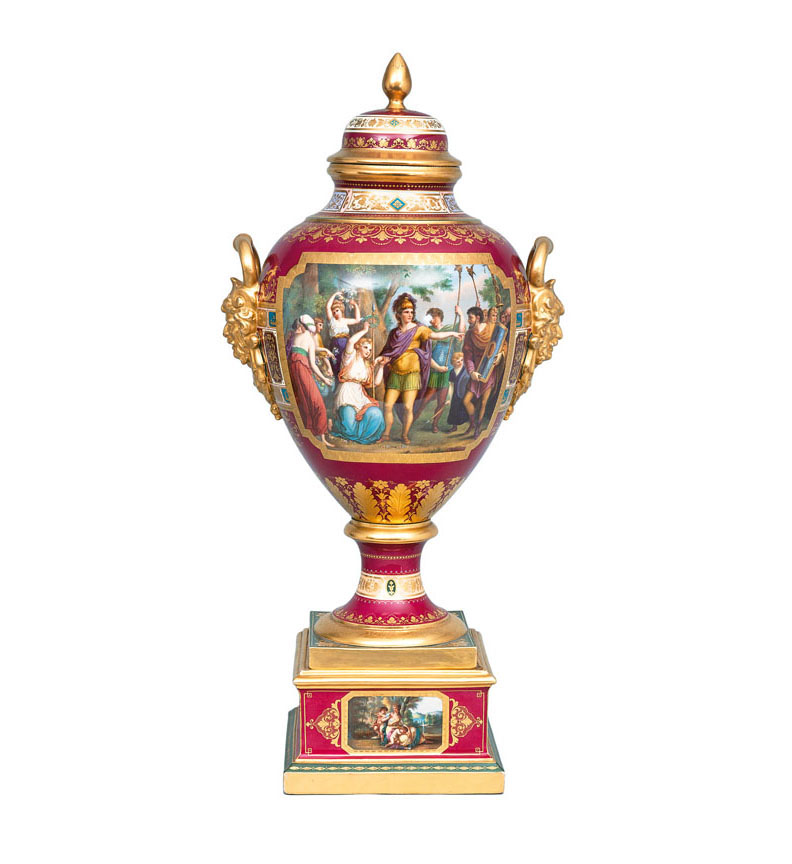 A tall opulent 'Sèvres-style' vase with scenes from the Saxon-German history