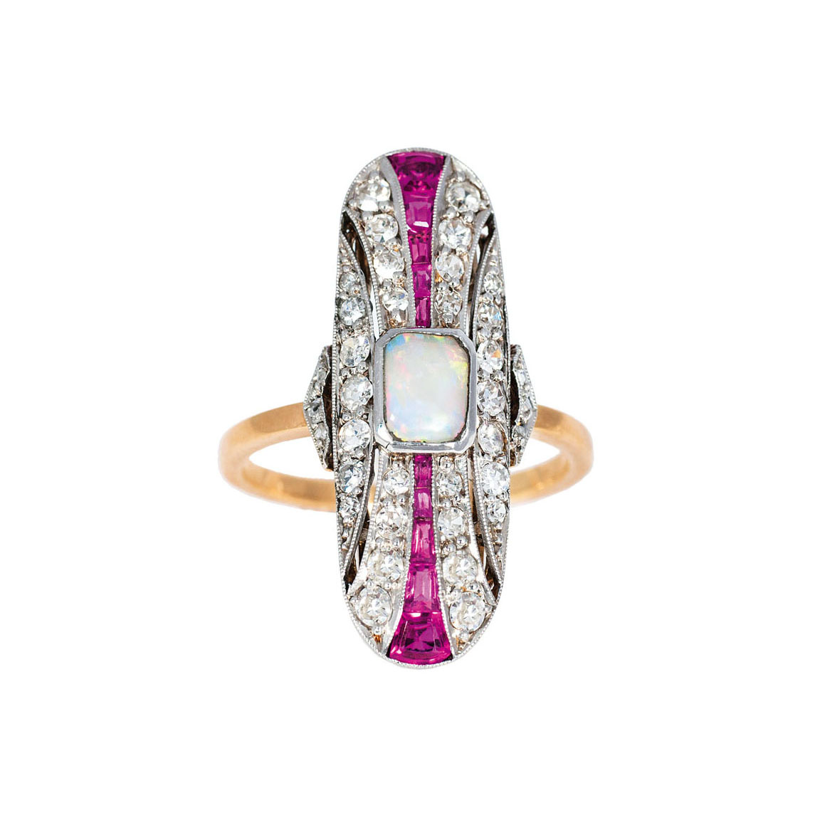 An Art Déco opal diamond ring with ruby setting