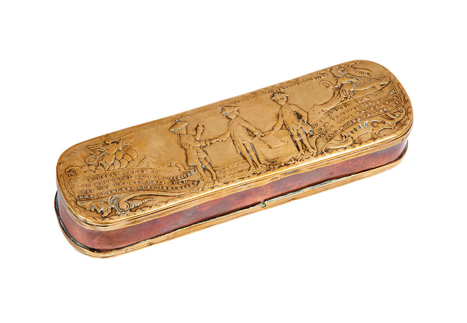 An Iserlohner tobacco box with conclusion of pease scene