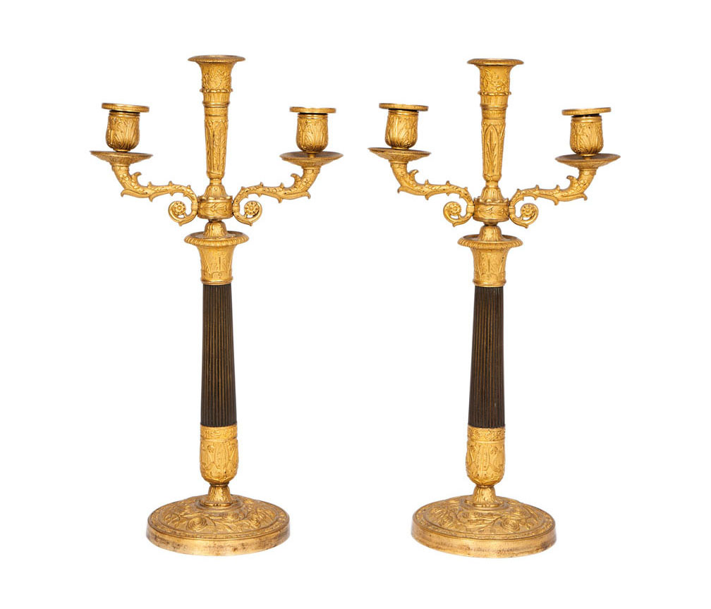 A pair of fine chased Charles X candelabra