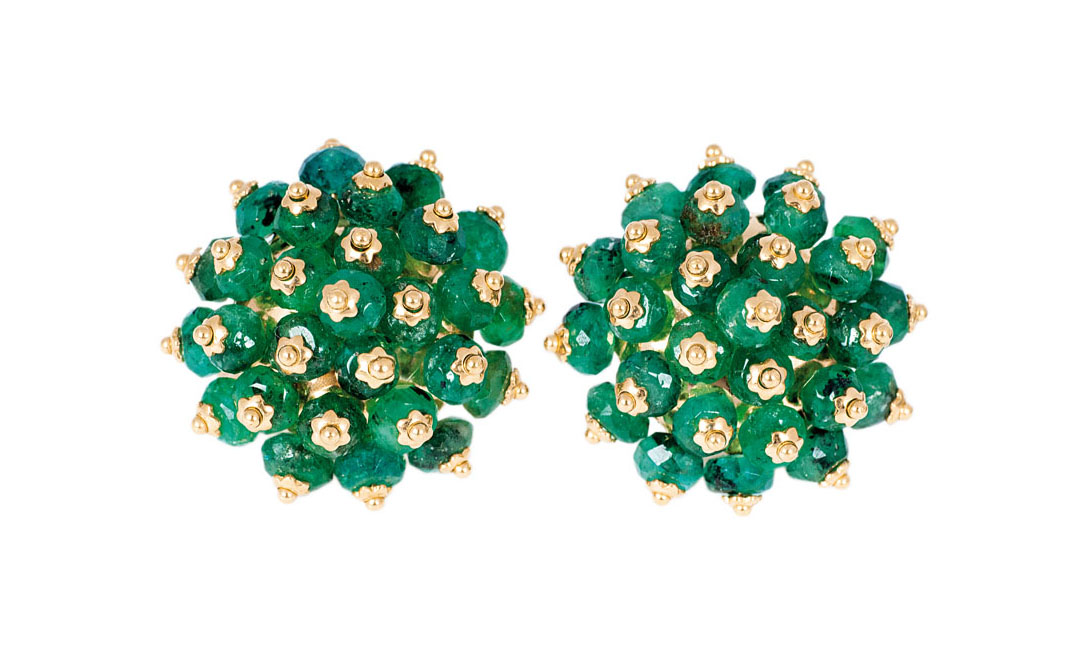 A pair of emerald earrings