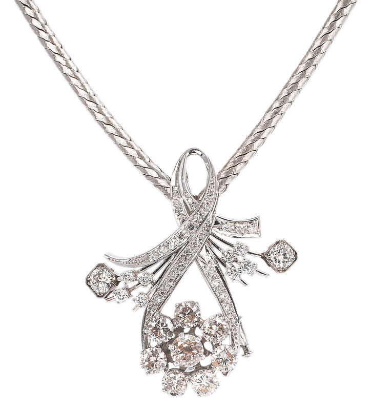 A golden necklace with highcarat diamond pendant