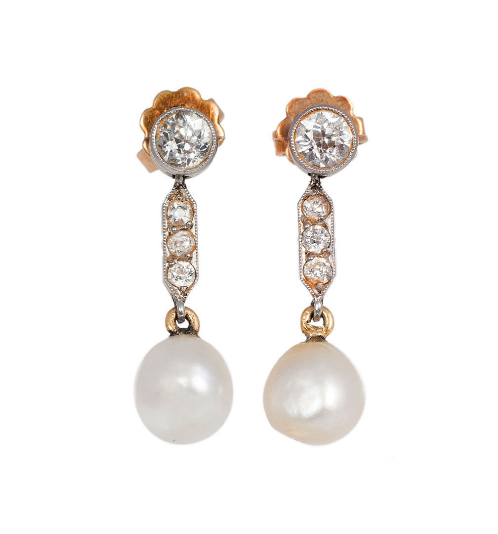 A pair natural pearl diamond earrings