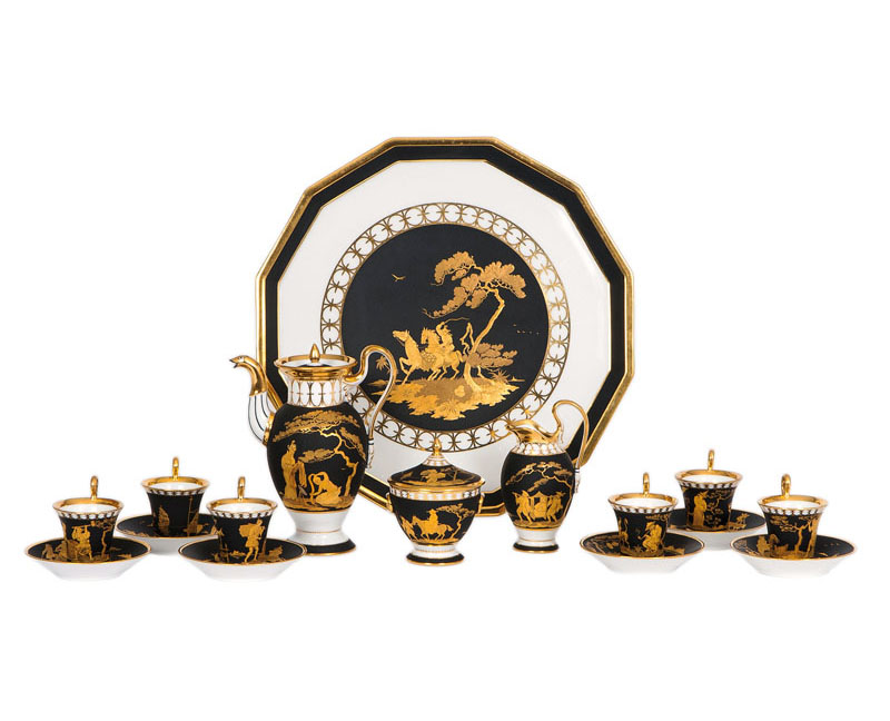 A rare Chinoiserie style Empire service for 6 persons