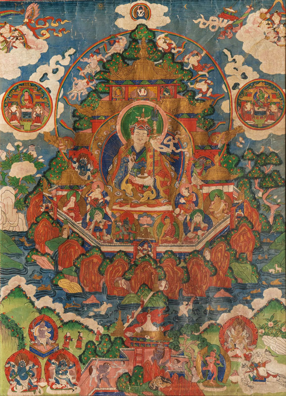 A thangka 'Padmasambhava in the Pure Land of the Copper Coloured Mountain'