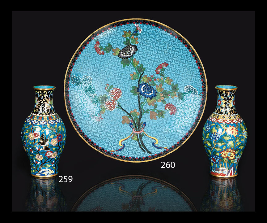 A pair of fine cloisonné vases with flowers and birds