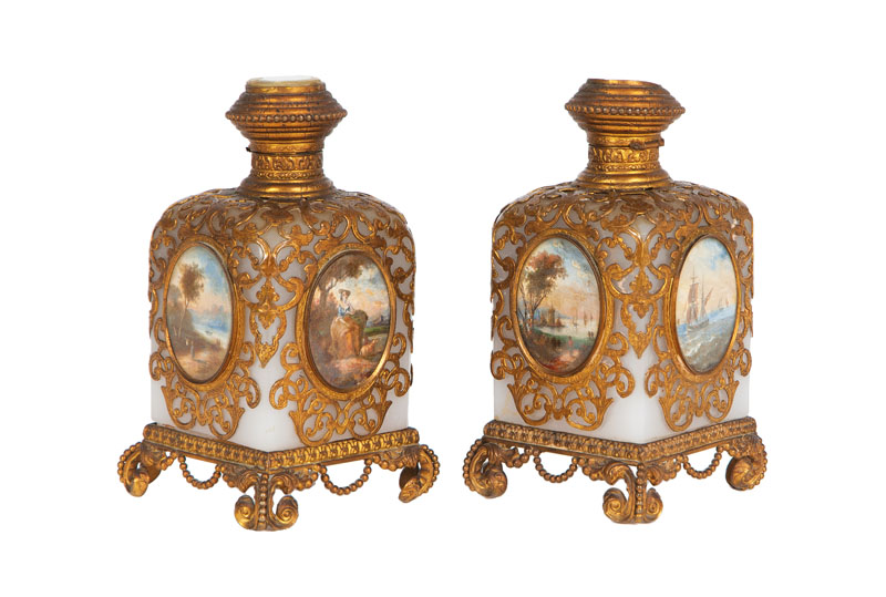 A pair of perfume flacons 'Palais Royal' with fine miniature paintings