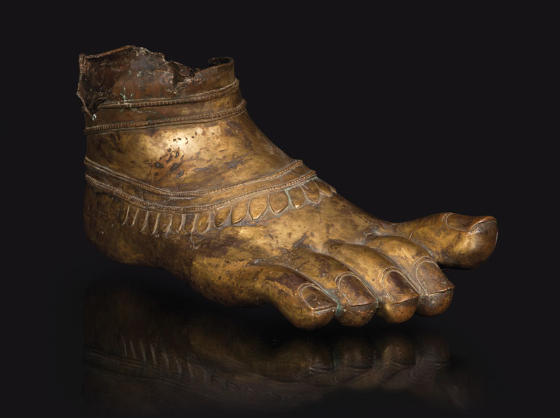 A large and rare bronze-foot of a bodhisattva