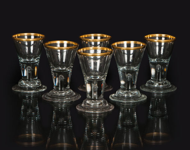 A set of 6 small Lauenstein goblets
