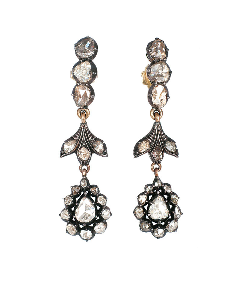 A pair of Art-Nouveau diamond earpendants